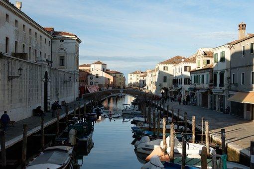 Channel, River, Gondolas, Boats, Bridge, Buildings