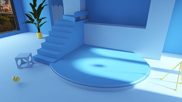 Room, Interior, Stairs, Indoor, Blue, Marine, Glass