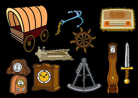 Wagon, Inventions, Radio, Clocks, Nautical, Sword