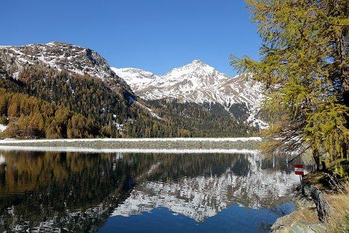 Lake, Mountains, Snow Mountains, Reflection, Mirroring