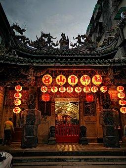 Temple, Building, Door, Doorway, Entrance, Lanterns