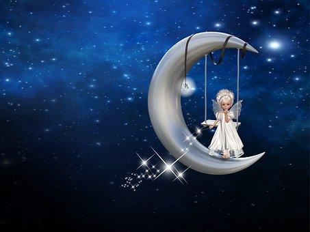 Moon, Angel, Stars, Crescent Moon, Crescent, Swing