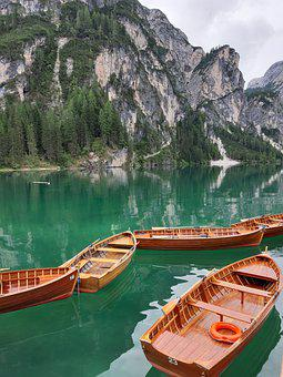 Boats, Lake, Mountains, Calm Waters, Alps, Alpine