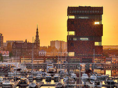 City, Buildings, Port, Harbor, Sunset, Dusk, Evening