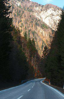 Road, Highway, Asphalt, Trees, Forest, Alps, Mountains