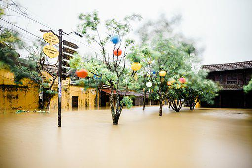 Village, Street, Flood, Flooding, Houses, Buildings