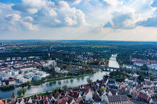 Houses, Buildings, River, Urban, City, View, Clouds