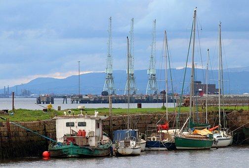 Boats, Harbour, Village, Limekilns, Scotland, Fife
