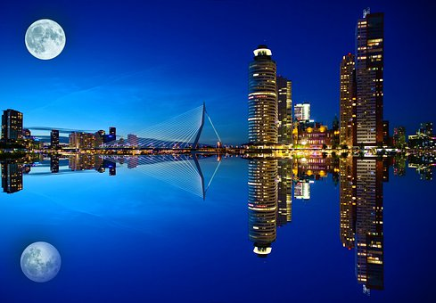 Bay, City, Buildings, Water, Water Reflection