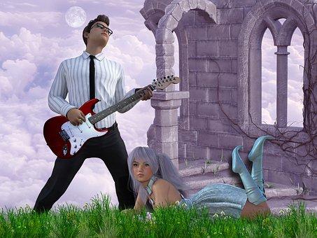 Guitarist, Guitar, Girl, Moon, Clous, Archway, Fantasy