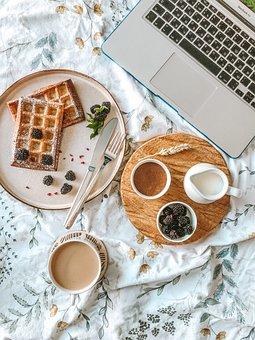 Breakfast, Waffles, Fruit, Milk, Wafers, Berries