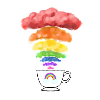 Cup, Rainbow, Clouds, Steam, Drawing, Colorful