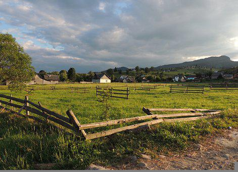 Farm, Fields, Fences, Demarcation, Wooden Fences, Ranch