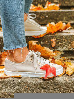 Autumn, Leaves, Shoes, Sneakers, Jeans, Legs, Feet
