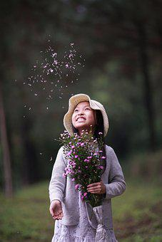 Girl, Model, Young, Flowers, Bouquet, Hat, Fun, Trees