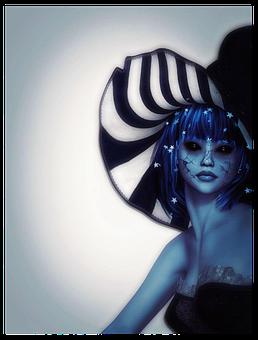 Fairy, Hat, Drawing, Character, Blue Hair, Dark Eyes