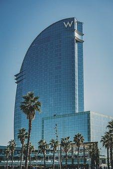 Building, Hotel, Palmtrees, Beach, Coast, Spain, Fun
