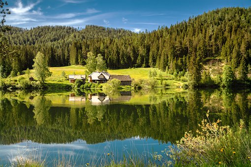 Cabin, Hut, Lake, Trees, Forest, Reflection, Outdoors