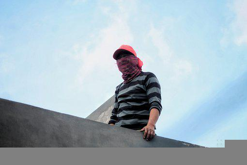 Man, Work, Roof, Face Covered, People, Human, Bandung