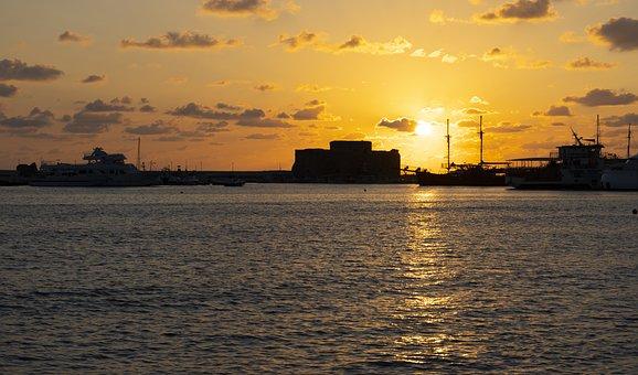 Sea, Sunset, Silhouette, Sun, Ocean, Water, Port