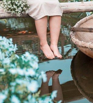 Feet, Girl, Flowers, River, Skin, Bare Feet, Reflection