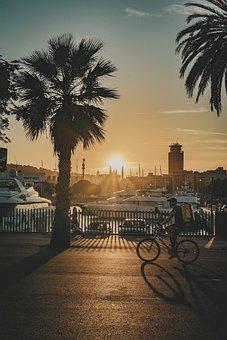 Sunset, Barceloneta, Beach, Barcelona, Sea, Spain