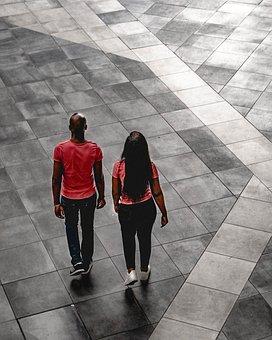 Couple, Walking, Mall, People, Girl, Boy, Together