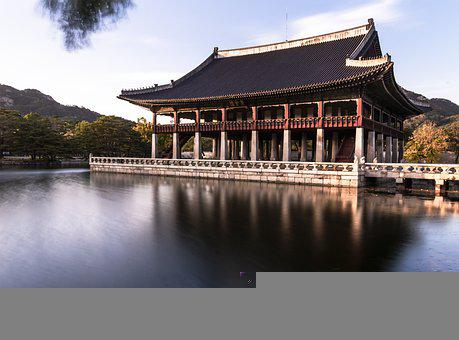 Palace, Building, Lake, Reflection, Trees, Mountains