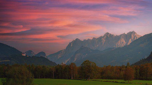 Mountains, Valley, Sunset, Dusk, Afterglow