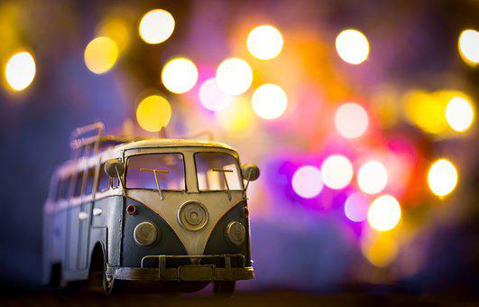 Car, Van, Bus, Lights, Bokeh, Party, Colorful, Blur