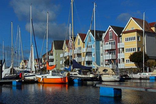 Port, Sailing Boats, Pier, Wooden Houses, Buildings
