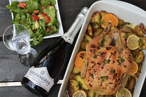 Champagne, Roasted Chicken, Salad, Food, Wine, Chicken