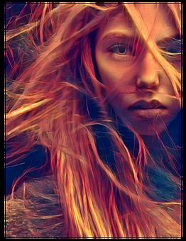 Girl, Model, Hair, Fire, Female