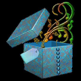 Present, Gift, Music, Notes, Box, Gift Box