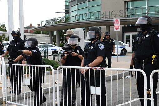 Police, Barriers, Blm, Barricade, Men, Policemen