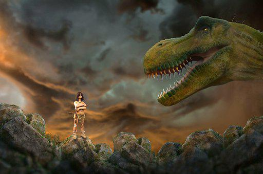 Prehistoric, Dinosaurs, Predator, Animal, Men, Brave