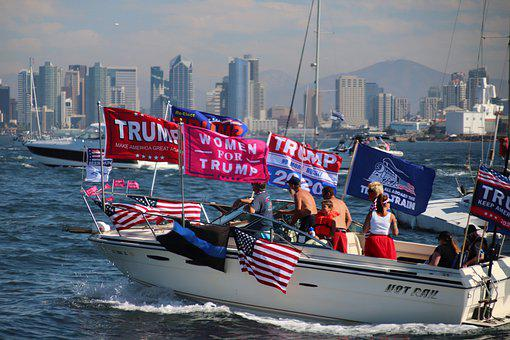 Boat, Parade, Flags, Lake, Ocean, Trump