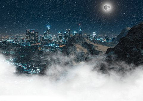 Skyscrapers, Rain, Moon, City, Skyline, Architecture