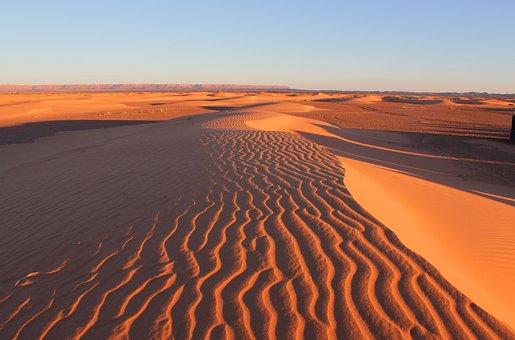 Desert, Dunes, Sand, Ripples, Landscape, Nature, Sahara