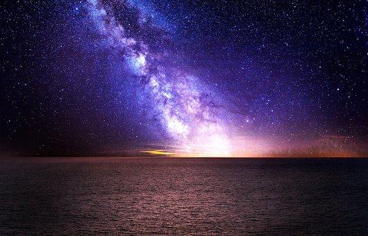 Milky Way, Sky, Stars, Sea, Ocean, Water, Horizon