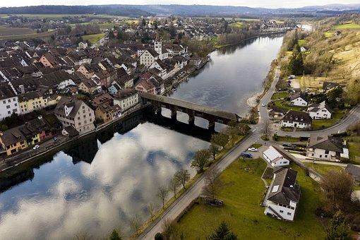 River, Bridge, Town, Village, View, Townscape, Houses