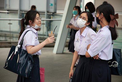 Women, Group, Friends, Young, Face Masks, School