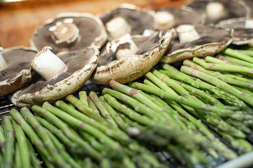 Asparagus, Mushrooms, Vegetables, Organic, Produce