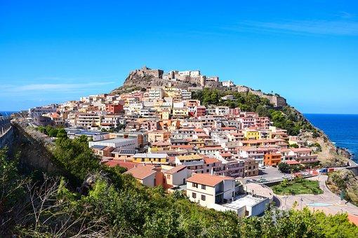 Town, Village, Houses, Mountain, Hill, Castle
