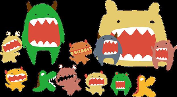 Monster, Creatures, Teeth, Rawr, Humor, Cute, Drawing