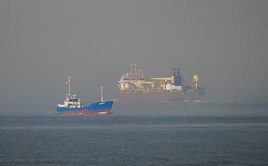 Ships, Working Ship, Suction Excavator, Sea, Haze, Fog