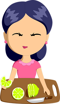 Housewife, Woman, Lemons, Fruit, Sour Expression, Girl