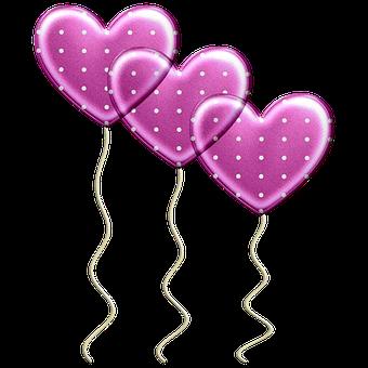 Balloons, Heart Balloons, Hearts, Love, Cartoon, Sky