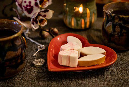 Marshmallow, Heart, Tea, Candles, Calisson, Candy