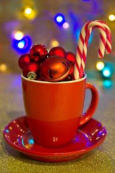 Mug, Ornaments, Candy Cane, Christmas, Christmas Bauble